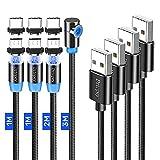 Drtopey Magnetisches Ladekabel,[4Stück, 1m+1m+2m+3m] 3in1 Magnet USB Kabel Nylon Braided Micro USB Typ C Kompatibel mit Smartphone(Schwarz)