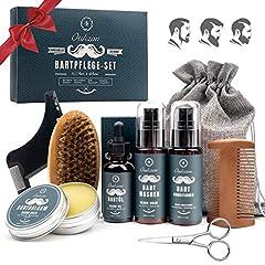 Idea Regalo - OUKZON - Set per la cura della barba 9 in 1, idea regalo per uomini, con shampoo, balsamo, olio e crema, pettine, forbici, strumento per lo styling e un sacchetto per la conservazione
