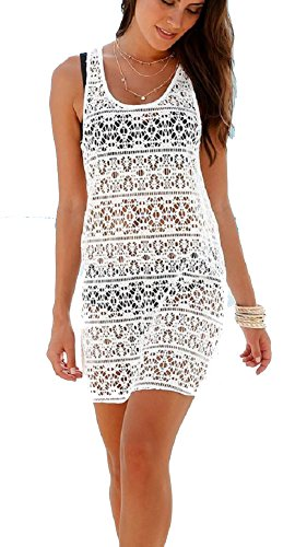 Ibiza-Style Strandkleid weiß in Lochoptik 971960 (44/46)