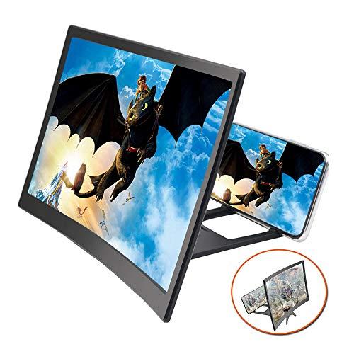 EZSMART Verbesserte 12-Zoll 3D gebogene Bildschirmlupe für Telefone, HD-Projektor-Bildschirmvergrößerung für Filme Videos und Spiele, faltbarer Telefonständer-Bildschirmverstärker für alle Smartphones