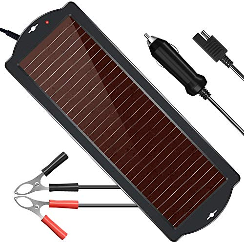 POWISER Solar Battery Charger 12V Solar Powered Battery maintainer & Charger,Suitable for Automotive, Motorcycle, Boat, Marine, RV, Trailer, Powersports, Snowmobile, etc.(1.8W Amorphous)