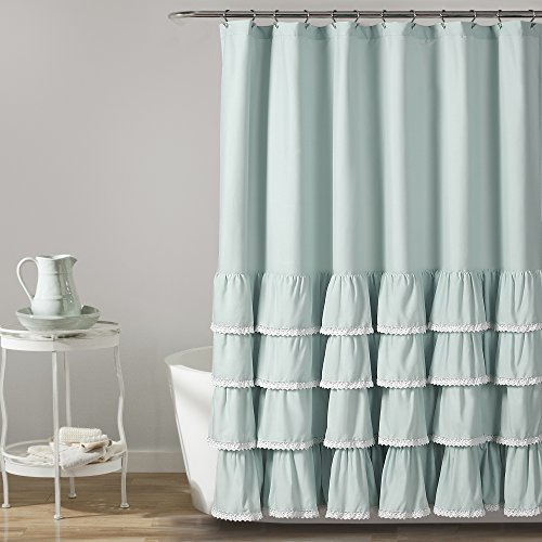 Lush Decor, Blue Ella Lace Ruffle Shower Curtain, 72' x 72'