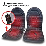 VaygWay Heated Car Seat Cushion – 2 Pk with 1 Integrated Plug – 12V Car Seat Heater Warmer - Heated Seat Cushion for Car – Adjustable Temperature and Timer Remote