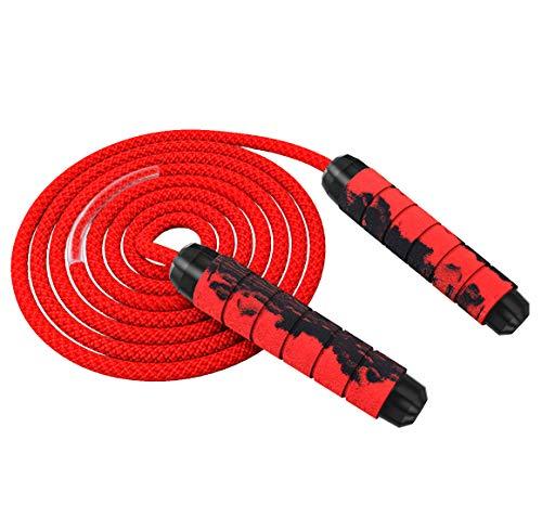 Odosalii Springseil Verstellbare Speed Rope Komfortablen Griffen Seilspringen Bunten Holzgriff Baumwolle Seil für Fitness Training Abnehmen für Kinder und Erwachsene (Rot)