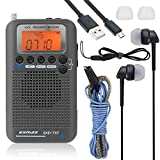 EXMAX EXD-737 Aviation FM/AM/SW/AIR/CB Band Shortwave Radio Receiver NOAA Weather Radios VHF Airband Portable Full Band Frequency Handheld Aircraft Radio Digital Alarm Speaker Gift for Parents - Gray
