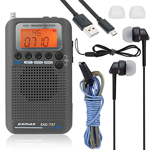 EXMAX EXD-737 Aviation FM AM SW Band Shortwave Radio Receiver NOAA Weather Radios VHF Airband Portable Full Band Frequency Handheld Aircraft Radio Digital Alarm Speaker Gift for Parents - Gray