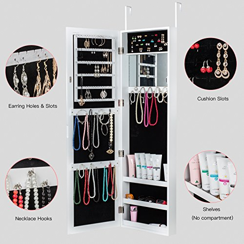 HERRON Wall Jewelry Cabinet Armoire with Mirror, Door or Wall Mounted Jewelry Box to Store jewelry for Women