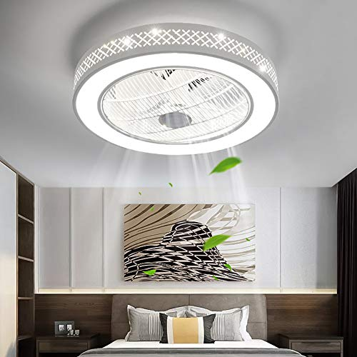 Deckenventilator Mit Beleuchtung LED 220V Einstellbare Windgeschwindigkeit Dimmbare Fernbedienung 32W Moderne Blume Lampe für Schlafzimmer Büro (Gitter)
