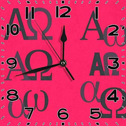jifyasuo Reloj Cuadrado Alpha Omega Silent Home Office Decor Reloj Decoración de Oficina