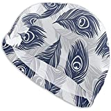 Gorro de natación Sombrero con Plumas Dibujadas a Mano Pavo Real Swim Cap Premium Impermeable Ligero Sombrero Cubierta para Hombres Mujeres