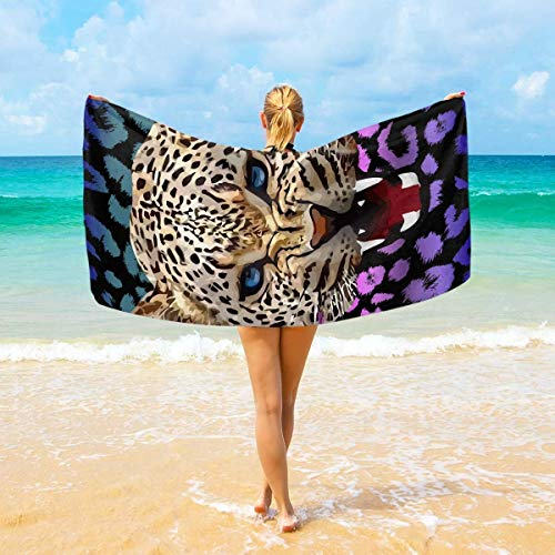 FETEAM Patrón de Estampado de Leopardo Toalla de baño Mantas de Microfibra Toalla de Piscina Toalla de Yoga para Piscina Gimnasio Toalla para niños
