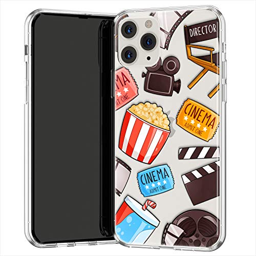 Lex Altern TPU Funda para Apple iPhone 12 Pro SE 11 XS MAX XR 8 7 Plus 6 + Cubierta Oscar Vistosa Teen Niña Transparente Chicas Popcorn Delgado Cinema Ligera Carcasa Linda uk1277