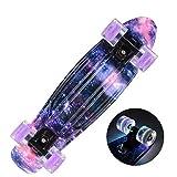 22 pouces Skateboard Cruiser Board Bamboo Board 22 'X 6' Retro Longboard Skateboard Graphics Full Galaxy Boy Girl Led Light