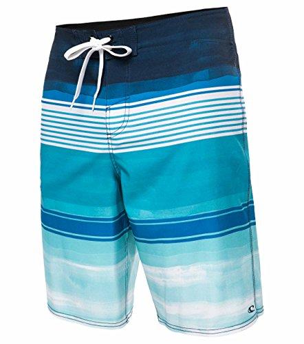 O'NEILL Men's Brisbane Lennox Board Shorts - Brisbane White Blue, Size 30
