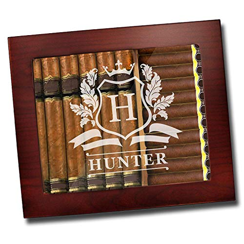 Custom Personalized Premium Cigar Humidor Box with Hygrometer, Humidifier and Glass Top - Engraved Wood Cigar Box Gift Set (Rosewood)