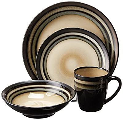 Gibson Lewisville 16 Piece Dinnerware Cream with Teal Reactive Metallic Rim