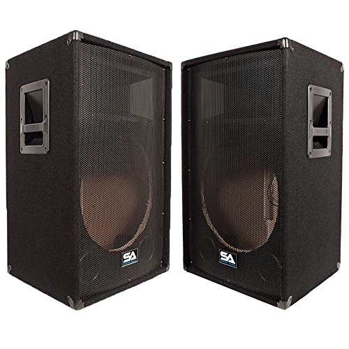 Seismic Audio - SA-15T_Empty-Pair - Pair of Empty 15 Inch PA/DJ Speaker Cabinets - PA/DJ Band Live Sound