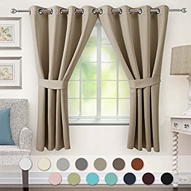 VEEYOO Grommet Blackout Curtains 63  - Window Treatment Thermal Insulated Solid Room Darkening Curtains Drapes Tiebacks, 52 63 Inch Cappuccino 2 Panels