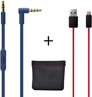 Original Replacement AUX Audio Cable Cord for Beats by Dre Headphones Solo 2/3/Studio/Pro/Detox/Wireless Blue(Discontinued by Manufacturer)+Replacement Charger Cable for Beats by Dr Dre and Pill