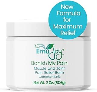 Banish My Pain Emu Oil Pain Relief Cream for Sore Muscles Joint Pain Arthritis Fibromyalgia Shingles Bursitis - No Medicinal Odor