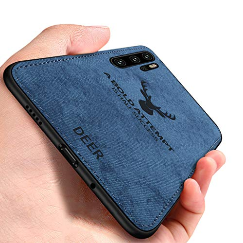 Yoota Cover Huawei P30 PRO, Cover Stoffa Testa Cervo + Custodia Bordo Morbida TPU Paraurti Antiurto Anti-Scivolo Caso per Huawei P30 PRO - Blu