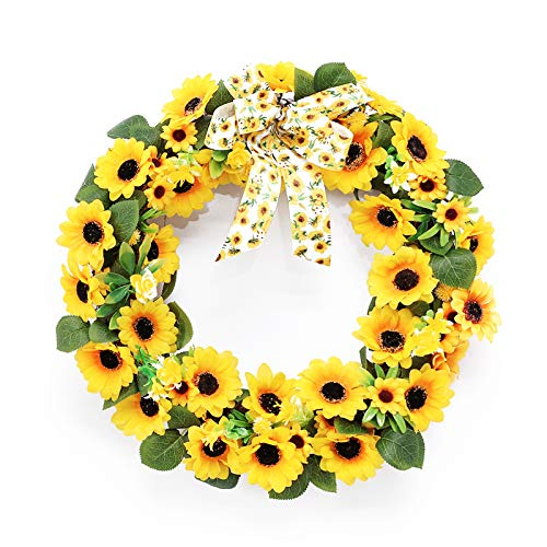 Super Holiday Sunflower Wreath, 16 inch, with Matching Sunflower Bow