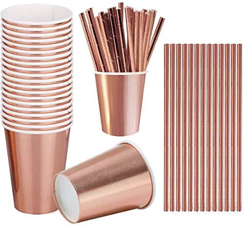 iZoeL 60pz Oro Rosa Feste Decorazioni Stoviglie, Bicchieri di Carta cannucce, per Donne Compleanno Nozze Festa