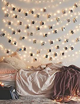 Photo Clip String Lights 17Ft - 50 LED Fairy String Lights with 50 Clear Clips for Hanging Pictures Photo String Lights with Clips - Perfect Dorm Bedroom Wall Decor Wedding Decorations