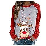 MORCHAN femmechemise Dames Chat Impression T-Shirt à Manches Longues Tops Blouse(FR-44/CN-2XL,Rose-1)