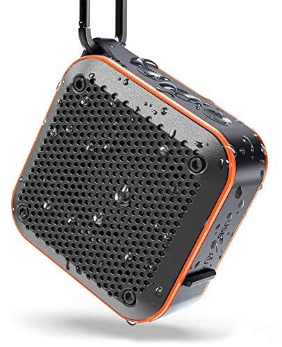 Bluetoothスピーカー KIYEDAMワイヤレス ミニ ポータブルIPX7防水防塵 耐衝撃、FMラジオ機能、大音量、TWS対応 車載、風呂用、アウトドア 内蔵マイク、AUXケープルポート、USB充電、カラビナ