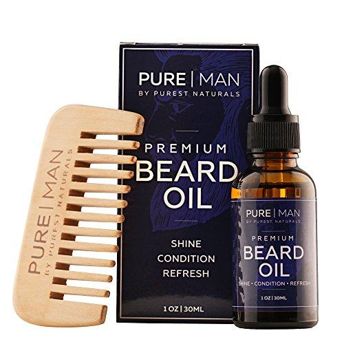 Purest Naturals Huile de barbe Bio et après-shampoing Sans rinçage – 100 % naturel Adoucit et Hydrate votre Barbe, peau et cheveux – arrête les démangeaisons et traite l'acné