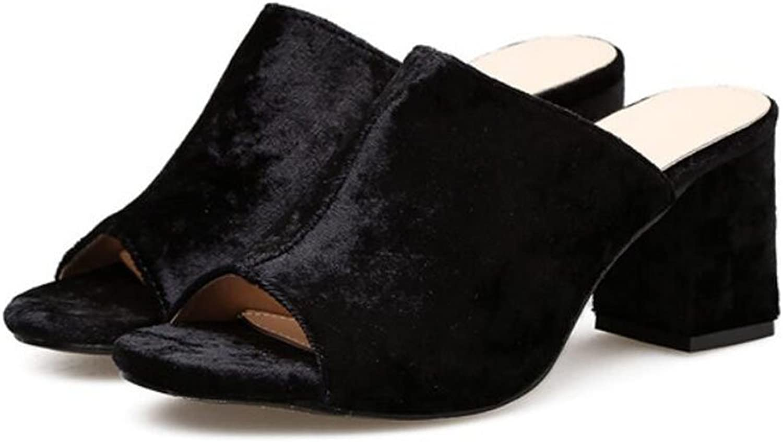 LZWSMGS Suede Women's Women's High Heels Suede Tweezers Toe Pinnacle Platform Sandals Casual shoes Chunky High Heels Charming Pump Apricot Black 35-40cm Ladies Sandals (color   Black, Size   7 US)