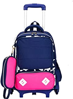 ASdf Primary School Students 6 Rounds Trolley Bag Children Cartoon Drag Lever Double Shoulder Book Book Negative Reflection (Color : Pink)