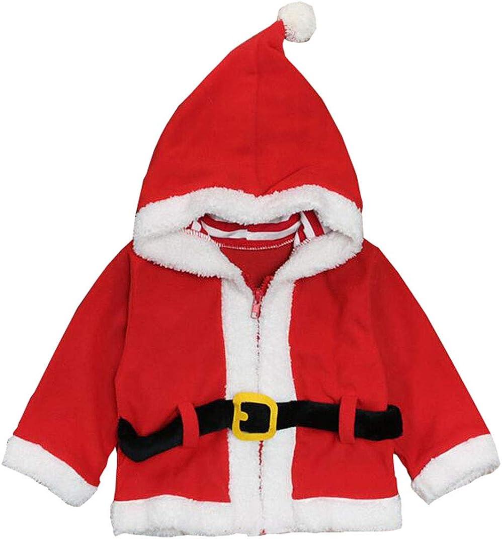 Kids Baby Boys Girls Christmas Fleece Coat Cute Santa Claus Hoodies Sweatshirt Outwear