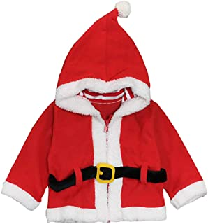 MNLYBABY Kids Baby Boys Girls Christmas Fleece Coat Cute Santa Claus Hoode Sweatshirt Jacket Outwear