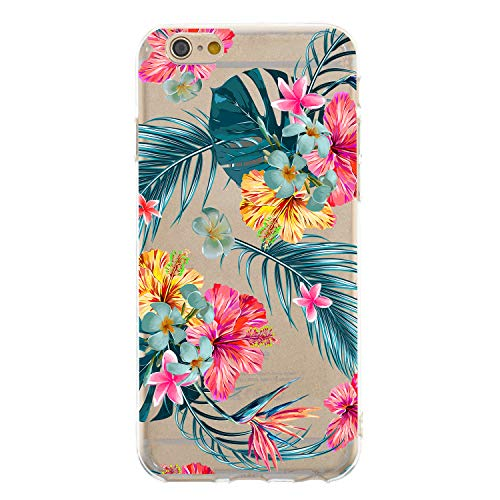 HengJun for iPhone 6S Plus Case, For iPhone 6 Plus Cover, Transparent Soft Flexible TPU Silicone Slim Sturdy Bumper Clear Cute Creative Pattern Case Cover - Ropical Plants