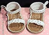 Sandalen modell Trenzada (geflochtene), Babyschuhe häkeln. Farbe zur Auswahl, aus 100% Baumwolle, 3 Größen 0-9 Monate. handgefertigt in Spanien. Turnschuh gehäkelt gestrickt. Geschenk fürs Baby