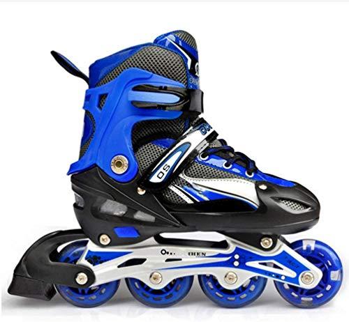 W&HH SHOP Inline Skates, hohe Elastizität-Roller Skates für Kinder Rollerskates mit PU-Rad für Anfänger und Fortgeschrittene,Blau,L 24/25.5cm