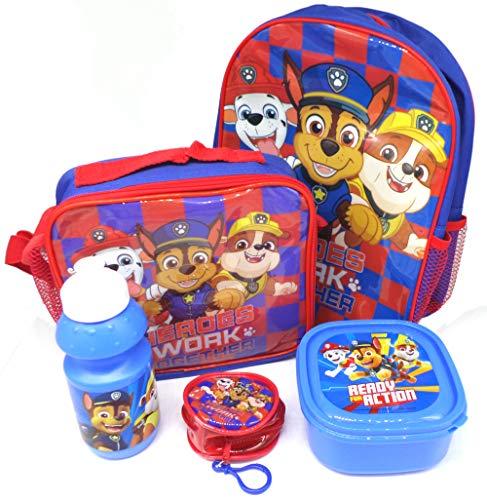 TDL Paw Patrol Geschenkset Rucksack + Geldbörse + Isoliertasche + Trinkflasche + Pausenbrotdose - Offiziell Lizensiert - Backpack + Coin Purse + Lunch Bag + Sports Bottle + Sandwich Box - Gift Bundle
