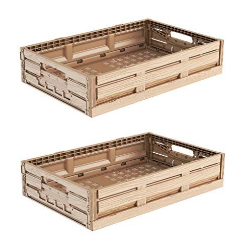 2x Faltbox im Holzdesign 60x40x11 * Klappbox für Obst, Gemüse * Obstkiste Gemüsekiste Holz Optik