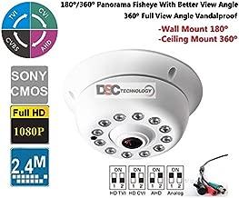 1080P 2.4 Megapixel Indoor Surveillance Security Camera Video Monitoring Night Vision 4-in-1 HD-TVI, AHD, CVI, CVBS Camera (White Indoor Dome 360 Degree Fish-Eye Lens)