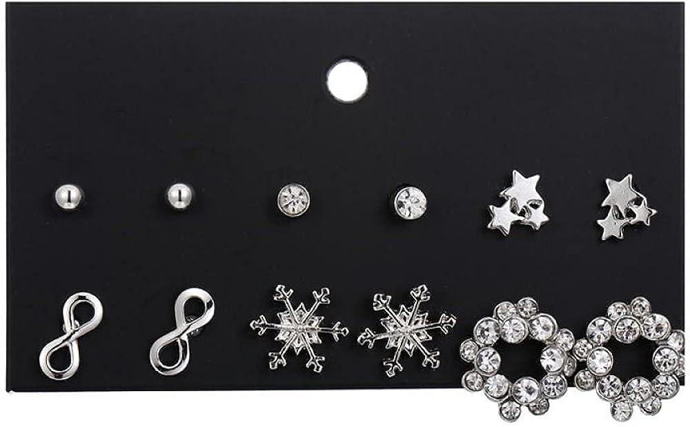 Cuff Earrings1 Card 6 Pairs Of Numbers 8 Inlaid Snowflake Five-Angle Geometric Earrings Earrings