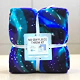 Spacey Northern Lights Anti-Pill No-Sew Throw Fleece Fabric Kit (50x60)