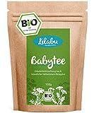 Infusión para bebés orgánica Lilabu 100 g - infusión de hierbas - 100% infusión estomacal orgánica, sin aditivos - producto natural puro según una vieja receta de parteras - recomendado por mibaby.de