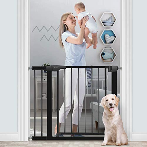 RONBEI Baby Gate for Stairs and Doorways, 35''- 37.8''/ 29.53''- 32.28'' Auto Close Indoor Child Gates for Kids/Dogs, Easy Walk Thru Safety Gate with 5.5'' Extension,4 Mounting Kit, 1 Wrench-Black