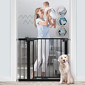 """RONBEI Baby Gate for Stairs and Doorways, 35""""- 37.8""""/ 29.53""""- 32.28"""" Auto Close Indoor Child Gates for Kids/Dogs, Easy Walk Thru Safety Gate with 5.5"""" Extension,4 Mounting Kit, 1 Wrench-Black"""