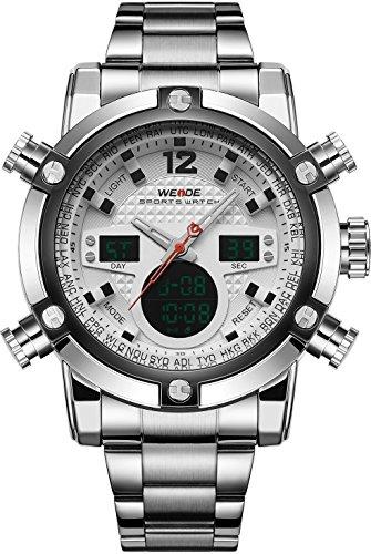 Weide - Reloj militar deportivo Quartz digital, acero inoxidable, hora dual y fecha automática, color blanco