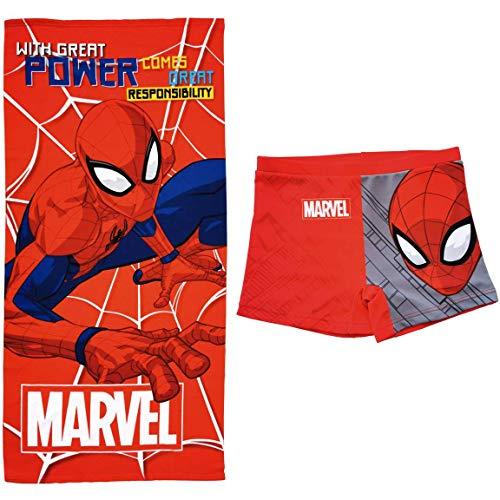 Spíderman Bañador Marvel Tipo Bóxer para niños + Toalla de Baño Marvel para Playa o Piscina (Rojo, 2 años)
