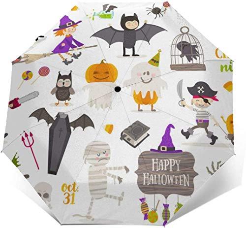 Lichtgewicht Compact Reizen Auto Vouwen Paraplu Versterkte Luifel 8 Ribs - Gelukkig Halloween Party Patronen Outdoor Paraplu's Winddichte Regendichte Paraplu