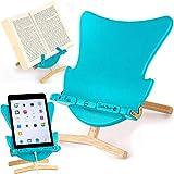 Silla huevo de lectura, atril, soporte para iPad, tablet, eReader - Regalo para lectores modelo azul
